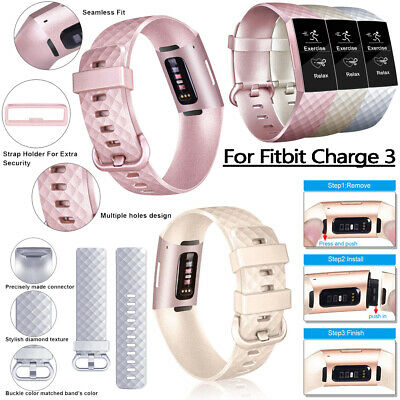 Sport Replacement For Fitbit Charge 3 Silicone Watch Band Bracelet Strap Soft UK