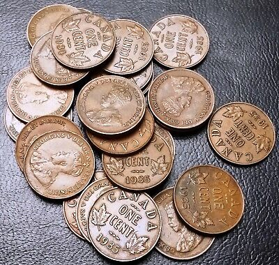 Lot of 26x 1934 & 1935 Canada Small Cents Pennies - Great Condition Coins