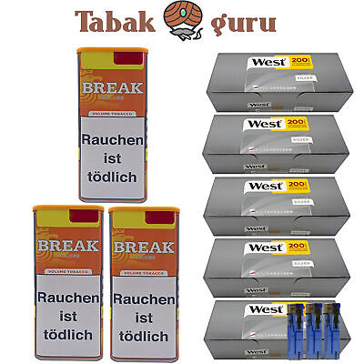 3 x Break Orange Tabak Inhalt 120 g, West Silver Hülsen, Feuerzeuge
