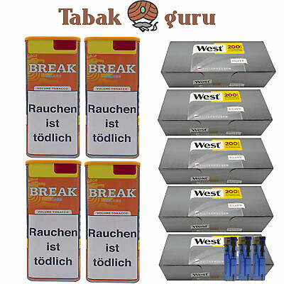 4 x Break Orange Tabak Inhalt 120 g, West Silver Hülsen, Feuerzeuge