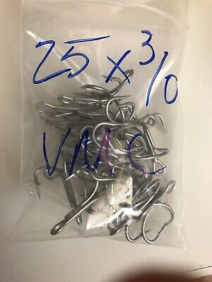 check for more sizes 25 VMC 9626PS SALTWATER TREBLE HOOKS SIZE#4 4X STRONG
