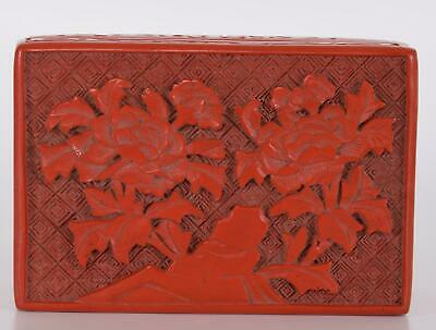 Chinese Cinnabar Lacquer Box Carved with Flowers on a Rock early 20th Century