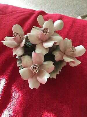 Vintage Capodimonte Porcelain Basket of Pink Flowers 6 X 5  Made in Italy