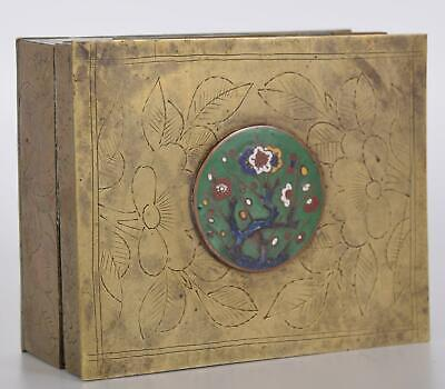 Chinese Brass & Cloisonne Enamel Box Wood Interior made in 20th Century