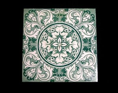 "Wedgwood 1885 Grn/Wht ""Rose And Ring"" Tile"