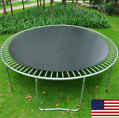 Round Trampoline Mat Spare Parts Replacement 12' 14' Frame with V-rings Black