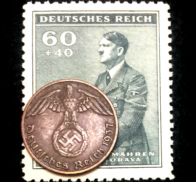 Rare Old WWII German One Reichspfennig Copper & Stamp Authentic WW2 Artifacts