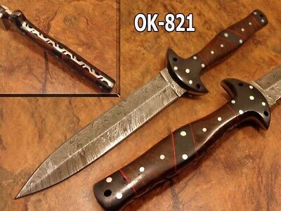 "11.4""Nelek Custom Forge Damascus Steel Full Tang Combat Dagger Knife Ok-821"