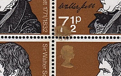 Great Britain GB (ERROR) 1971 Literary 71/2p with gold smudge - MNH
