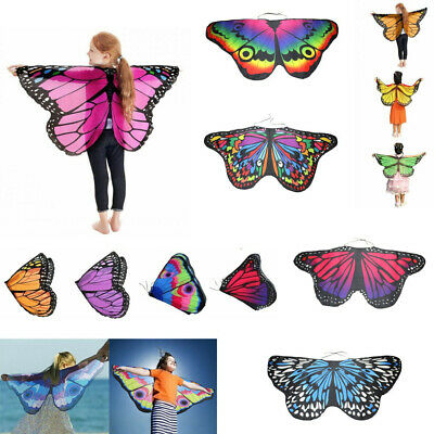 Kids Girl Fairy Butterfly Wings Costume Children Princess Shawl Cape Cloak UK