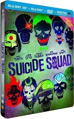 ÉDITION LIMITÉE STEELBOOK BLU-RAY 3D/BLU-RAY/DVD SUICIDE SQUAD Neuf Sous Blister
