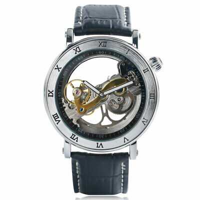 Automatic Mechanical Analog Wrist Watch Hollow Dial Leather Strap Stainless Case