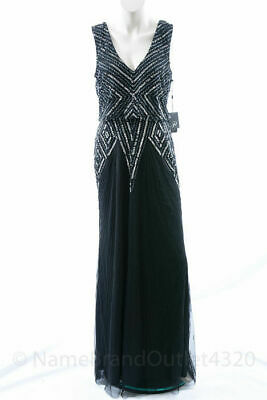 Adrianna Papell black 10 M embellished beaded vneck blouson gown dress NEW $279