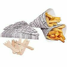 Newspaper Print Disposable Paper Bags Fast Food Chip Serving Scoop Cones