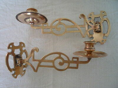 Pair Simple Reclaimed Antique Brass Wall Candlestick Holder Wall Sconce Piano *