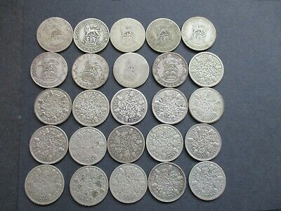 25 x GEORGE V SILVER SIXPENCE COINS 1920 - 1936, - BULK COLLECTION