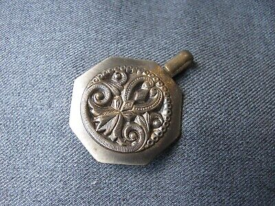 Vintage decorated metal belt buckle oversized clasp pendant with hanger repurpos