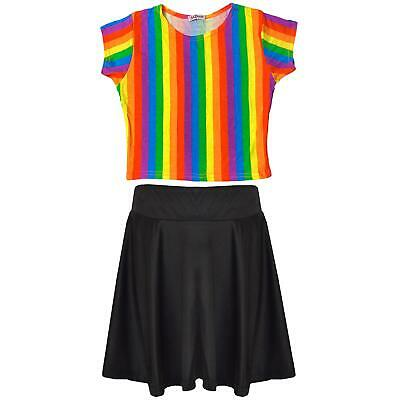 Kids Girls Rainbow Crop Top Skirt  Multi Color Summer Wear Outfit Set 5-13 Years