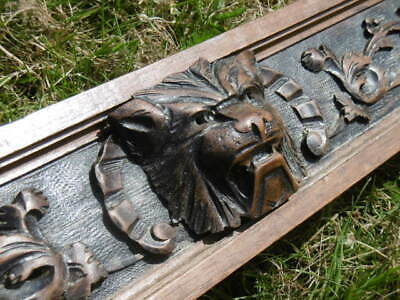 SUPERB 19thc LONG GOTHIC OAK PANEL WITH LION HEAD CARVED CENTRALLY