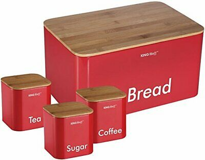 4pcs RED Set-Coffee Sugar Tea Metal Quality Storage Canisters with Bread Box Bin