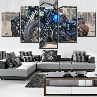 Painting Motorcycle Parking 5 piece Canvas Wall Decor Home Decor Canvas Print