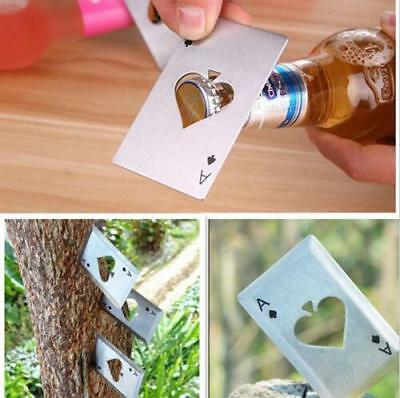 3pcs Metal Outdoor Concealed Poker Playing Cards Throwing Toy Cool Bottle Opener