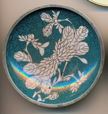 Antique Chinese Cloisonne Round Small Plate, Coaster, Turquoise Feathers
