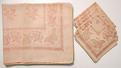 Vintage Coral and White Satin Damask Butterflies Tablecloth & 4 Napkins 58x50