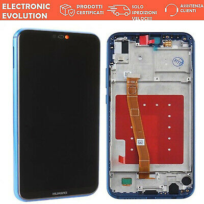 Lcd Display Originale + Touch Screen Frame Telaio Huawei P20 Lite Blu Ane-Lx1