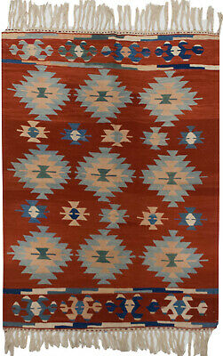 RRA 4x6 Turkish Kilim Repeating Medallion Red Rug 34582