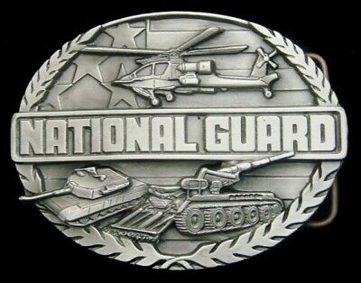 Rg20116 *Nos* Vintage 1991 Siskiyou **National Guard** Pewter Belt Buckle