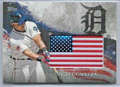 2018 Topps Independence Day U.S. Flag Relics—Miguel Cabrera, Detroit Tigers