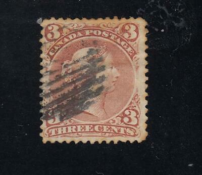 CANADA # 25 VF-3cts RED LARGE QUEEN LIGHT USED CAT VALUE $50