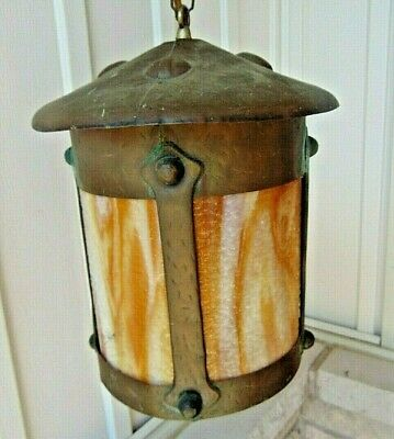Great Antique Arts & Crafts Stained Glass Ceiling Fixture, Light