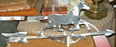 Vintage Running Horse Weathervane Black & Silver Colors Directional Wind Arrow