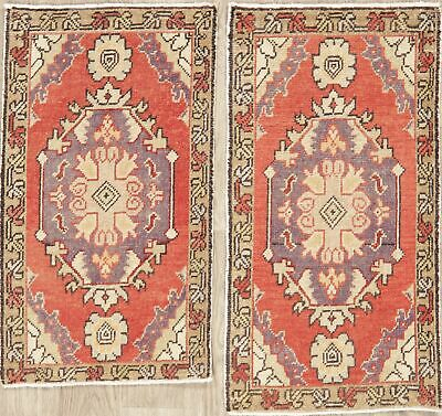 PAIR OF Vintage Oushak Turkish Oriental Area Rug Hand-Knotted Kitchen Carpet 2x3