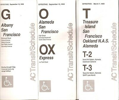15 Old Used Bay Area 1980's 90's Ac Transit Bus Time Schedules