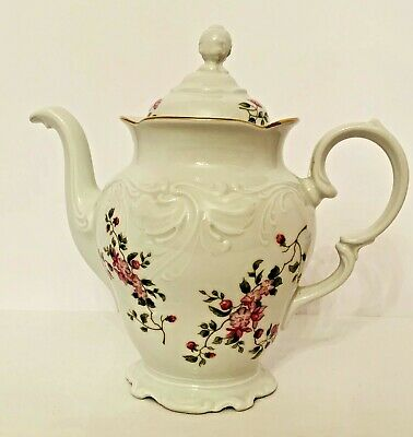 Vintage ~ Wawel ~ Rose Floral Porcelain China Teapot Gold Trim Made in Poland 7""