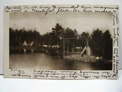 The Stage Upon Which The Play of Hiawatha is Given Postcard 1906 B/W Lake Front