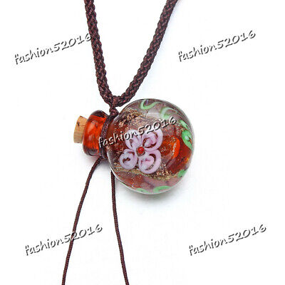 Round Glass Bottle Pendant Necklace Perfume Essential Oil Diffuser Handmade FREE