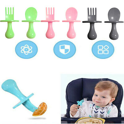 AU Baby Kids Self Feeding Learning Cutlery Set Spoon and Fork Utensil Durable 2X