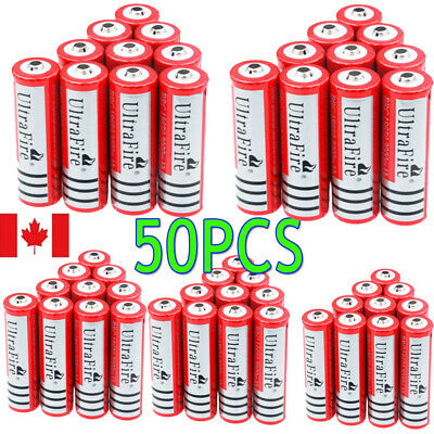 Red 50*Ultrafire 3000mAh BRC 18650 Battery 3.7V Lithium Rechargeable Batteries