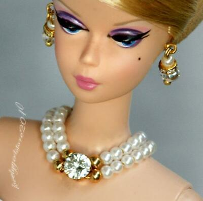 Handmade doll jewelry necklace earrings fits Barbie dolls #155