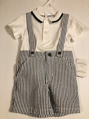 Dressed Up By Gymboree Boys Seersucker Striped Suspender Shorts Size 6-12 Months