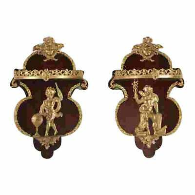 Pair of French Regency Style Corbel Wall Sconce Brackets W Gilt Bronze Angels