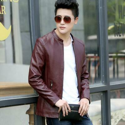 Fashion Men PU Leather Stand Collar Casual Jacket Slim Jacket Outerwear Jackets