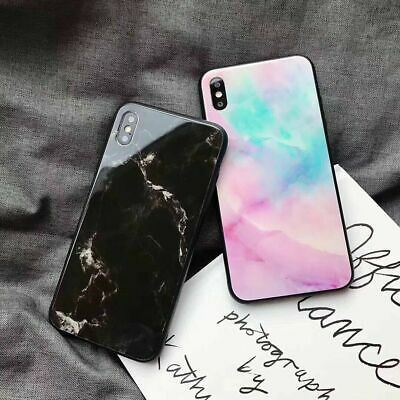 Case For iPhone XS XR 7 8 Luxury Marble Hard TPU Tempered Glass Phone Case Cover