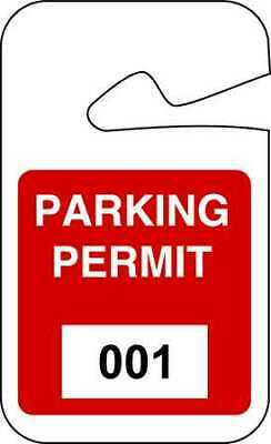 BRADY 95202 Parking Permits,Rearview,001-100,Wht/Red