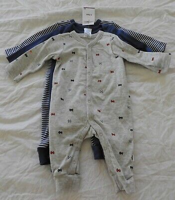 3 x Baby Boys  size 0 (1 x THREE PACK) of COVERALLS Target NEW RRP$22