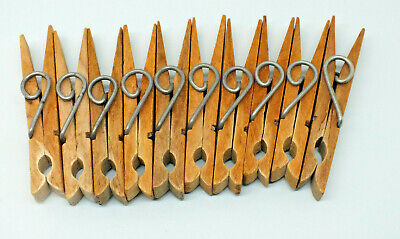 10 x Vintage Sprung Wooden Clothes Pegs Large spring of wire Ideal for crafts